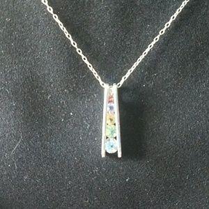 Jewelry - Closet closing! Sterling Silver rainbow pennant